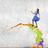 Mulher no vestido azul Imagem de Stock Royalty Free