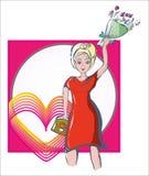 Mulher no vestido brilhante com bolsa e flores em suas mãos Imagens de Stock