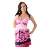 Mulher no vestido cor-de-rosa com dispositivo ortodôntico Imagens de Stock