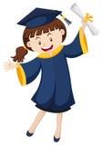 Mulher no vestido da graduação que guarda o grau ilustração do vetor