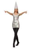 A mulher no vestido de prata isolado no branco imagens de stock royalty free