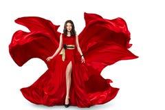Mulher no vestido de vibração vermelho imagens de stock