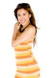 Mulher no vestido do verão fotografia de stock