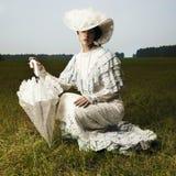 Mulher no vestido do vintage fotos de stock