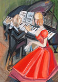 Mulher no vestido e no pianista vermelhos Imagens de Stock Royalty Free