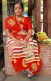 A mulher no vestido indiano tradicional brilhante é Imagens de Stock