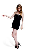 Mulher no vestido preto fotografia de stock