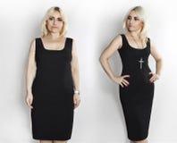 Mulher no vestido preto, fotos antes e depois da perda de peso Imagem de Stock