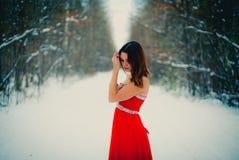 Mulher no vestido vermelho Sibéria, inverno na floresta, muito fria fotos de stock royalty free