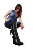 Mulher nos carregadores de couro Foto de Stock Royalty Free