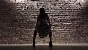 A mulher nos saltos altos dança o twerk contra uma parede de tijolo Silhueta Movimento lento filme