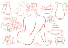 Mulher nos termas ilustração stock