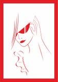 Mulher nos vidros ilustração do vetor