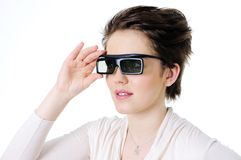 Mulher nos vidros 3d Imagem de Stock Royalty Free