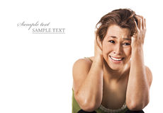 Mulher nova afligida infeliz Fotos de Stock