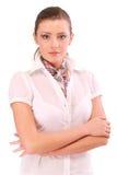 Mulher nova agradável com o lenço na garganta foto de stock