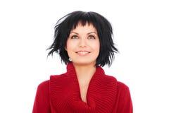 Mulher nova alegre que olha acima Foto de Stock Royalty Free