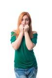 Mulher nova amedrontada Imagens de Stock Royalty Free