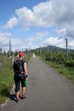 A mulher nova anda em uma estrada nas montanhas imagens de stock royalty free