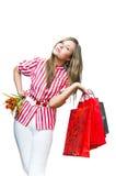 Mulher nova após a compra Imagem de Stock