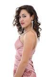 Mulher nova atrativa no vestido cor-de-rosa Fotografia de Stock Royalty Free