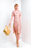 A mulher nova bonita carrega um saco Fotografia de Stock Royalty Free