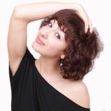 Mulher nova bonita com cabelos curly Foto de Stock Royalty Free