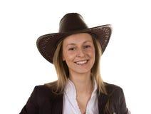 Mulher nova bonita com chapéu imagem de stock royalty free