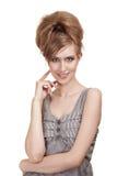 Mulher nova bonita com composição brilhante Fotos de Stock Royalty Free