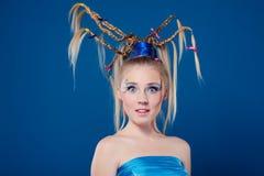 Mulher nova bonita com face-arte Fotos de Stock Royalty Free