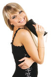 Mulher nova bonita com um fantasia-saco imagens de stock royalty free