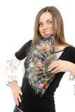 Mulher nova bonita com ventilador imagem de stock royalty free