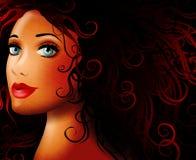 Mulher nova bonita na escuridão ilustração stock
