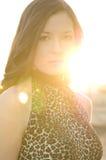 Mulher nova bonita na parte superior da cópia do leopardo Imagens de Stock Royalty Free