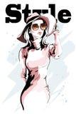 Mulher nova bonita no chapéu Retrato desenhado mão da mulher esboço Imagens de Stock