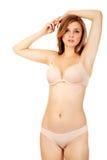 Mulher nova bonita no roupa interior Imagens de Stock