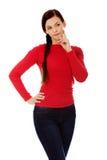 Mulher nova bonita pensativa do estudante Imagens de Stock