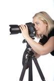 Mulher nova bonita que toma um retrato Fotos de Stock