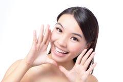 Mulher nova bonita shouting Excited Imagem de Stock Royalty Free