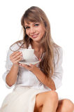 Mulher nova bonito feliz de sorriso Imagens de Stock Royalty Free