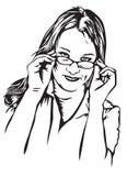 Mulher nova céptica com vidros Fotos de Stock Royalty Free