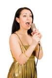 A mulher nova canta Fotografia de Stock Royalty Free