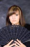 Mulher nova Charming com ventilador italiano Foto de Stock