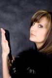 Mulher nova Charming com ventilador italiano Foto de Stock Royalty Free