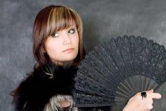 Mulher nova Charming com ventilador italiano Imagem de Stock