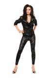 Mulher nova Charming na roupa preta imagens de stock royalty free