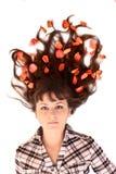 Mulher nova com as flores no cabelo isolado Fotos de Stock