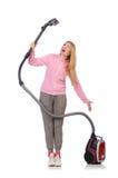 Mulher nova com aspirador de p30 Imagens de Stock Royalty Free