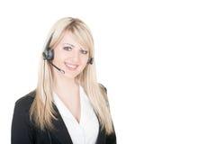Mulher nova com auriculares Foto de Stock