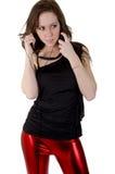 Mulher nova com auscultadores Imagem de Stock